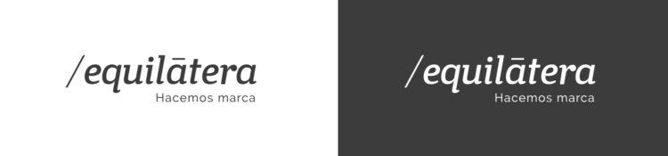 logotipo Equilátera y su logotipo en negativo